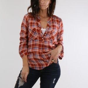 JOIE Orange Pacey Plaid Silk Shirt Top Size S